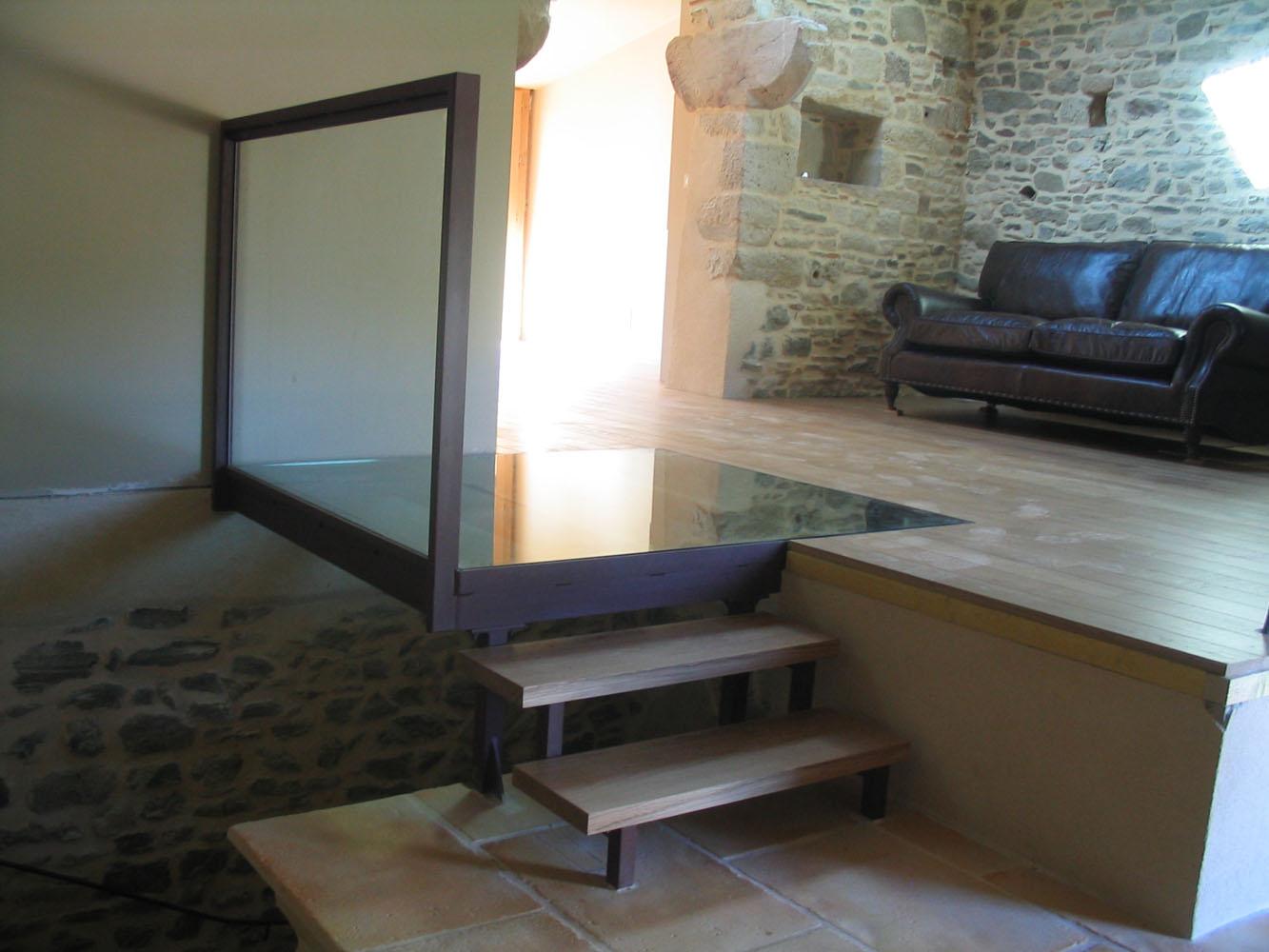 Puit De Lumiere Sol dalles de plancher et escalier en verre